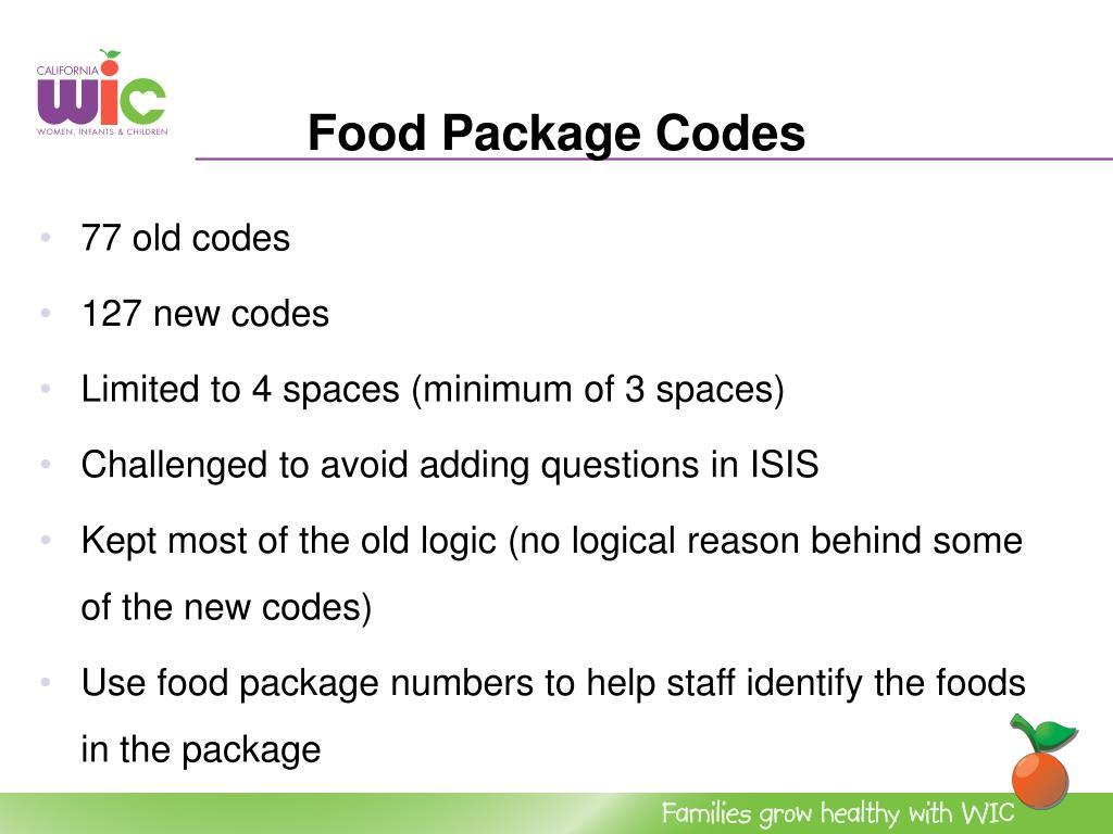 Food Package Codes