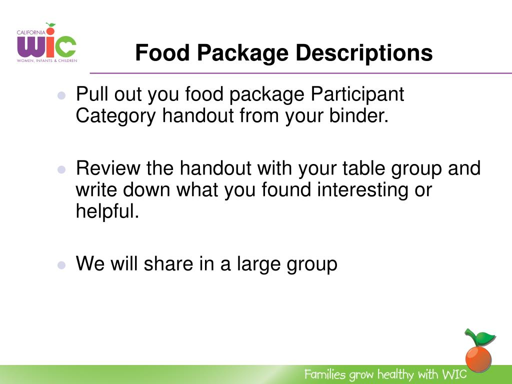 Food Package Descriptions
