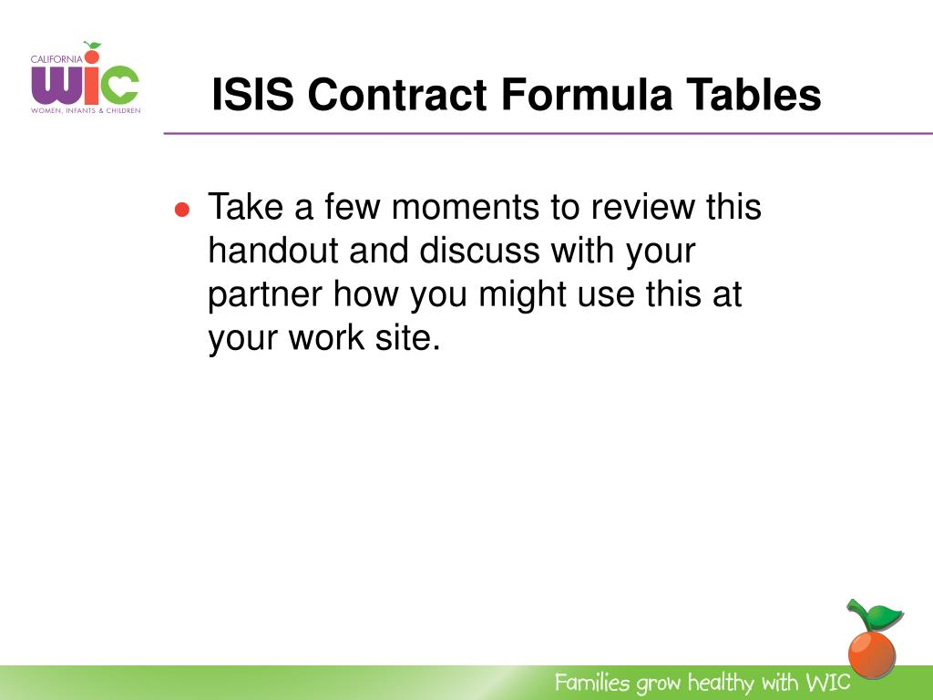 ISIS Contract Formula Tables