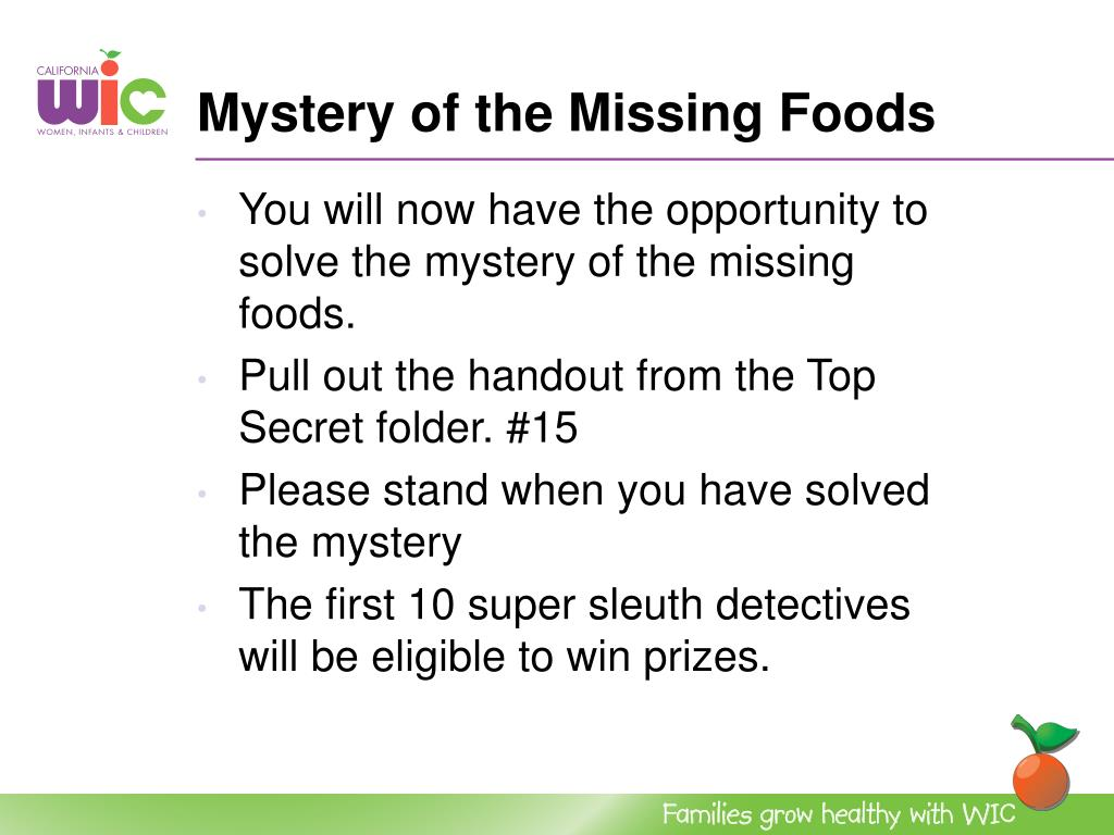 Mystery of the Missing Foods