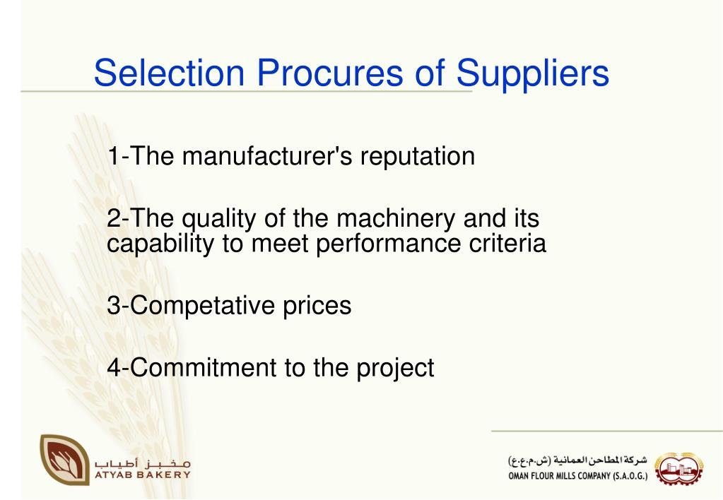 Selection Procures of Suppliers