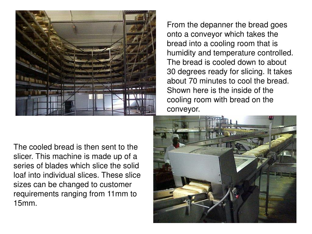 From the depanner the bread goes onto a conveyor which takes the bread into a cooling room that is humidity and temperature controlled. The bread is cooled down to about 30 degrees ready for slicing. It takes about 70 minutes to cool the bread. Shown here is the inside of the cooling room with bread on the conveyor.