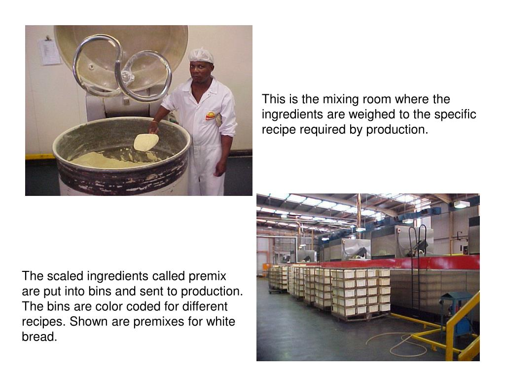 This is the mixing room where the ingredients are weighed to the specific recipe required by production.
