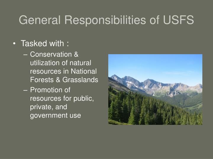 General Responsibilities of USFS