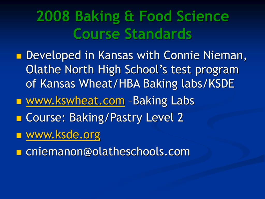 2008 Baking & Food Science Course Standards