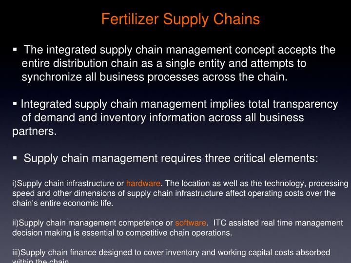 The integrated supply chain management concept accepts the
