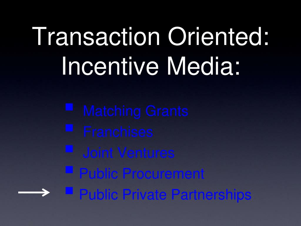 Transaction Oriented: Incentive Media: