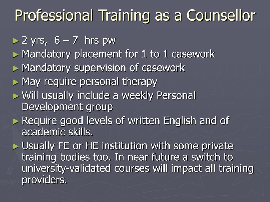 Professional Training as a Counsellor