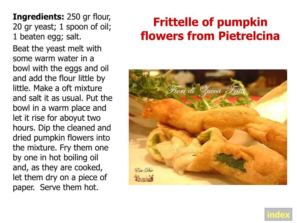 Frittelle of pumpkin flowers from Pietrelcina
