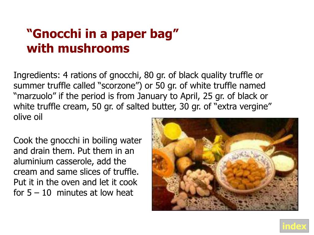 """""""Gnocchi in a paper bag"""" with mushrooms"""