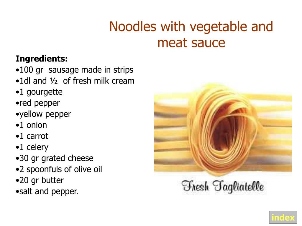 Noodles with vegetable and meat sauce