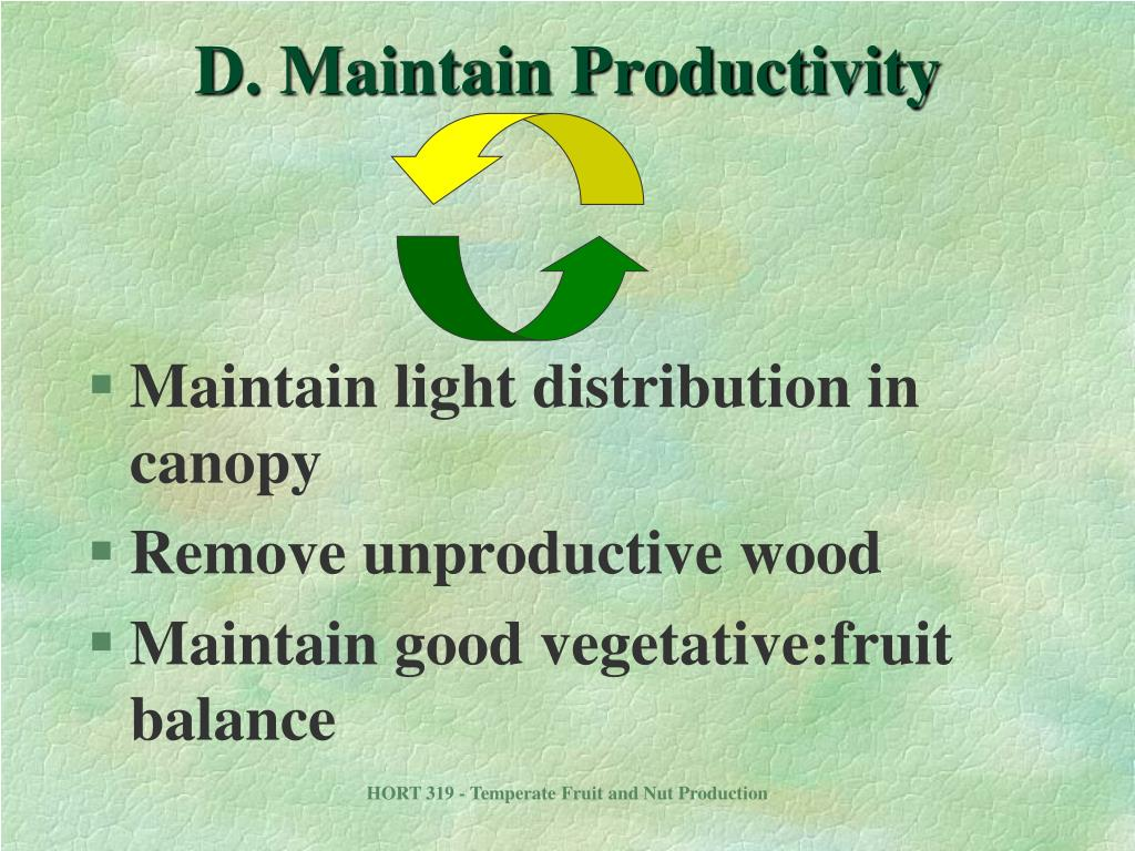 D. Maintain Productivity
