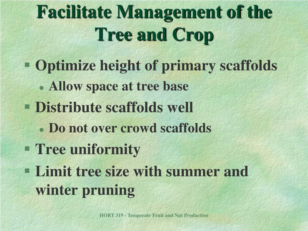 Facilitate Management of the Tree and Crop