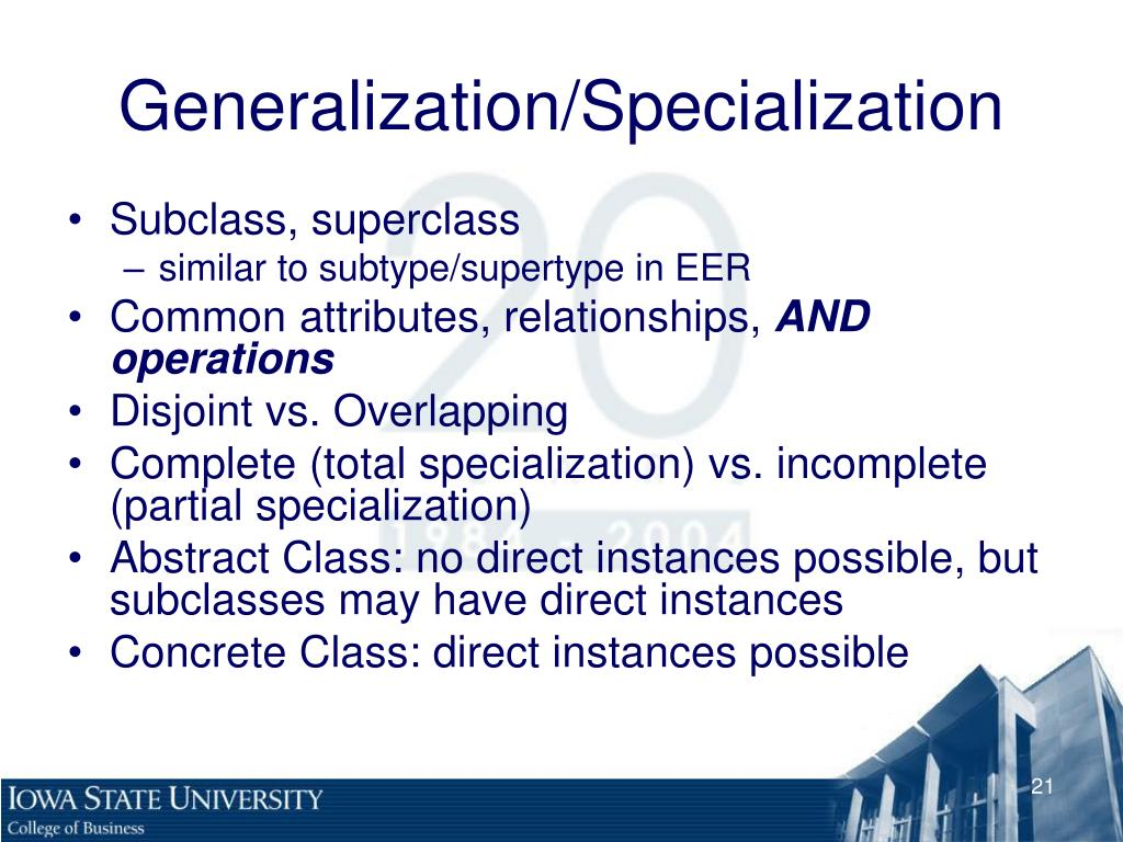 specialization vs generalization in education Specialization is the opposite of generalization in specialization, a group of entities is divided into sub-groups based on their characteristics.