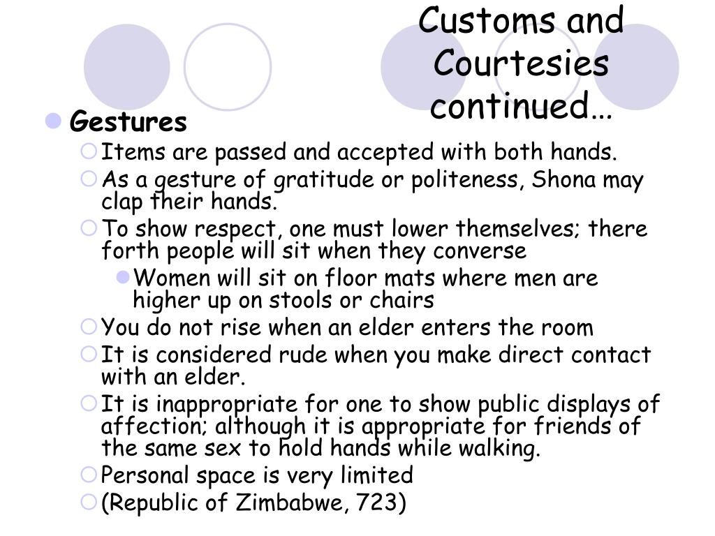 Customs and Courtesies continued…