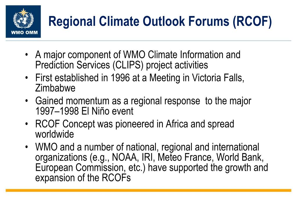 Regional Climate Outlook Forums (RCOF)