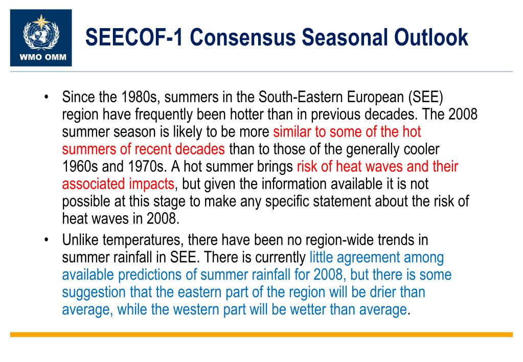 SEECOF-1 Consensus Seasonal Outlook