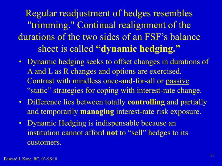 "Regular readjustment of hedges resembles ""trimming."" Continual realignment of the durations of the two sides of an FSF's balance sheet is called"