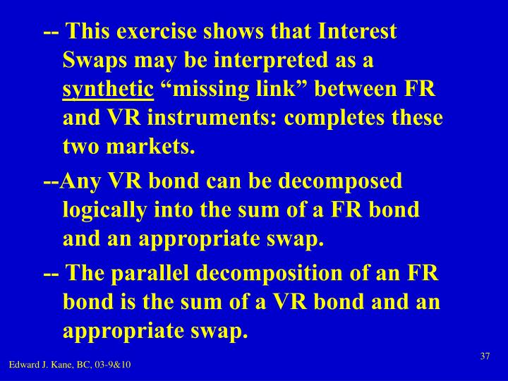 -- This exercise shows that Interest Swaps may be interpreted as a