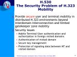 h 530 the security problem of h 323 mobility