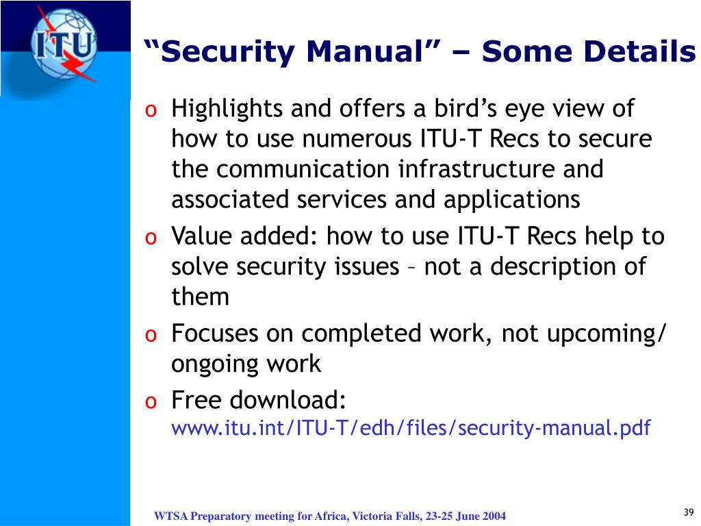 """Security Manual"" – Some Details"