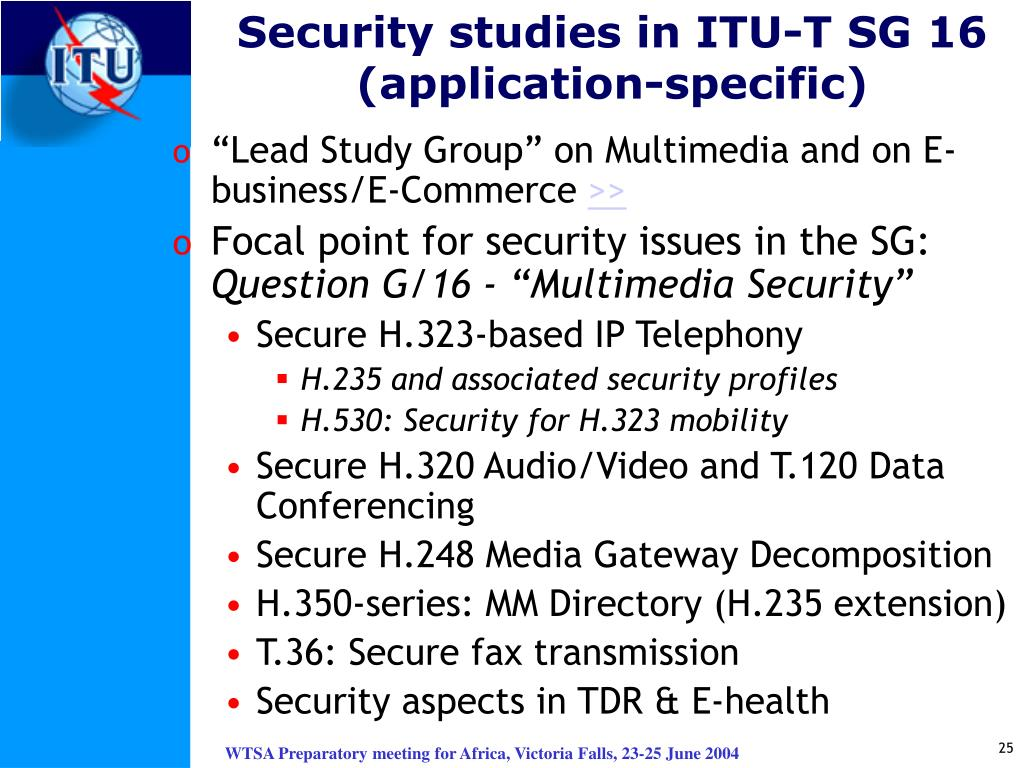 Security studies in ITU-T SG 16