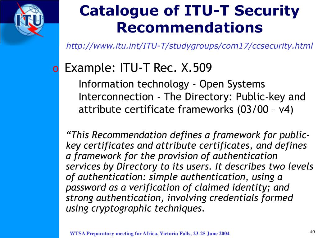 Catalogue of ITU-T Security Recommendations