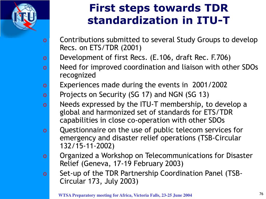 First steps towards TDR standardization in ITU-T