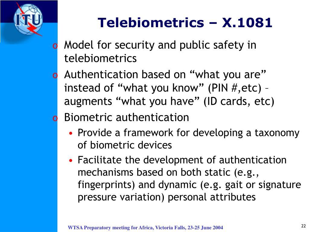 Telebiometrics – X.1081