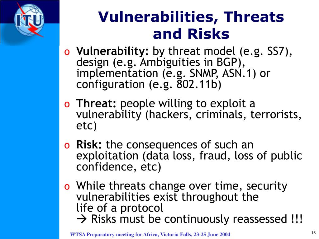 Vulnerabilities, Threats