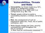 vulnerabilities threats and risks