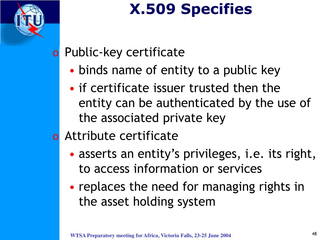 X.509 Specifies