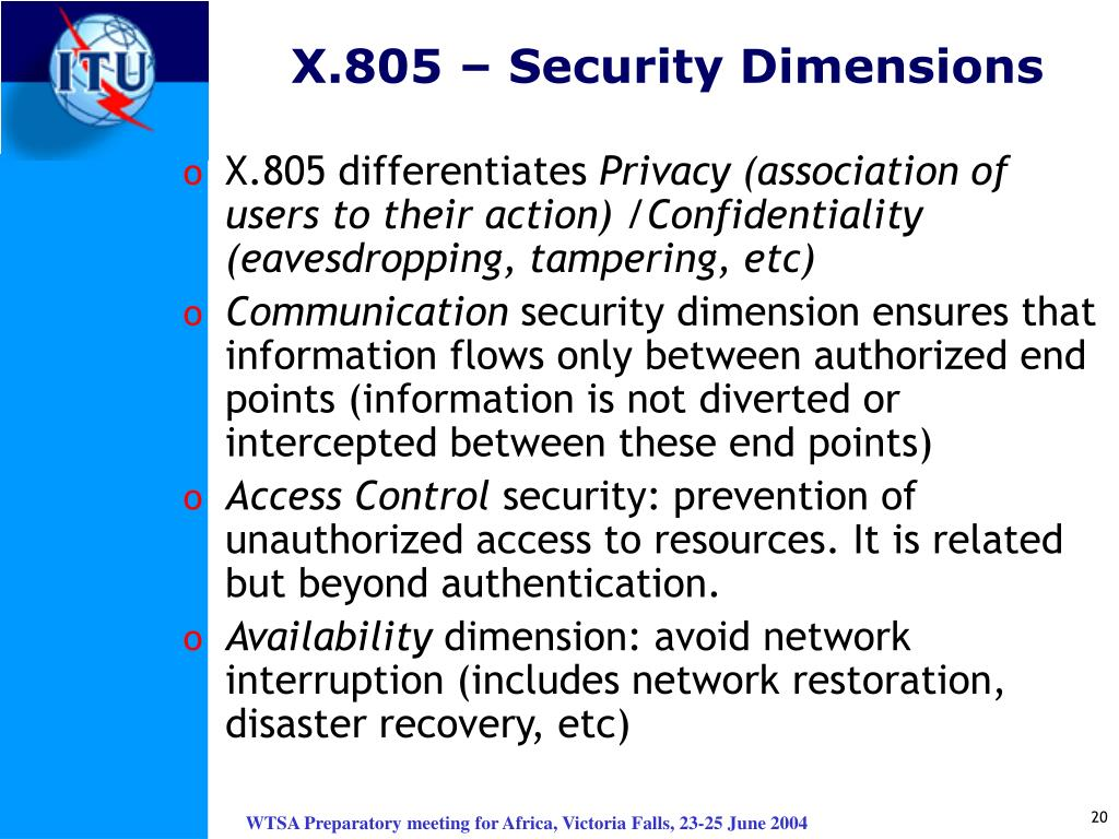 X.805 – Security Dimensions