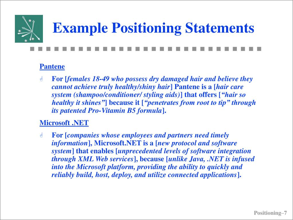 Example Positioning Statements