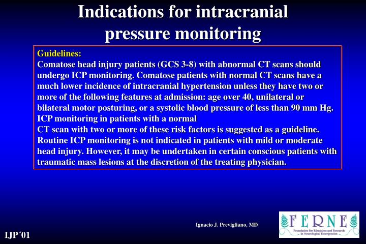 Indications for intracranial pressure monitoring