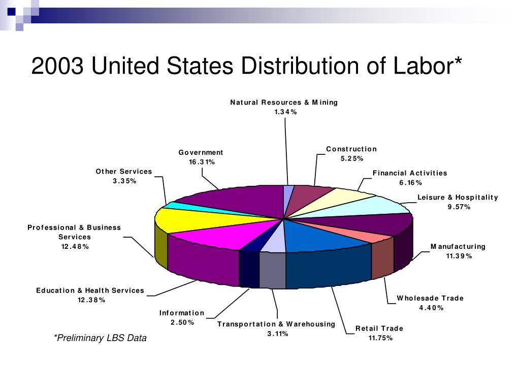 2003 United States Distribution of Labor*
