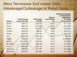 west tennessee esti mated 2002 inleakeage outleakage of retail sales