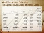 west tennessee estimated inleakeage outleakage of retail sales