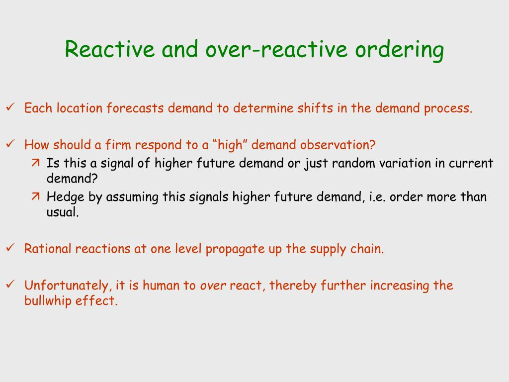 Reactive and over-reactive ordering