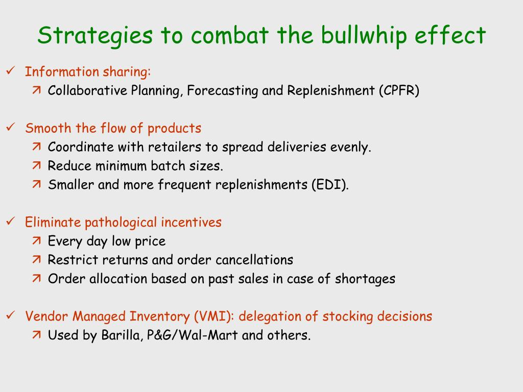 Strategies to combat the bullwhip effect