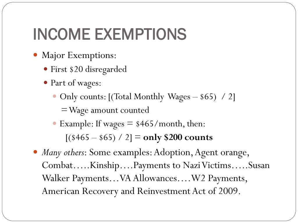 INCOME EXEMPTIONS