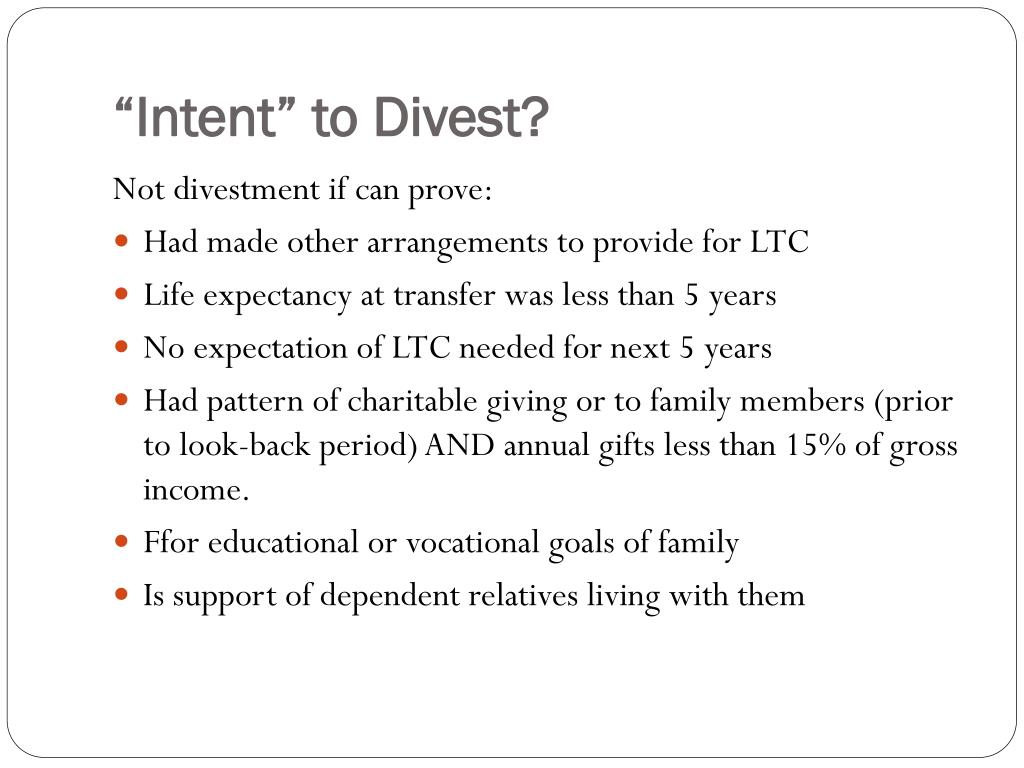 """""""Intent"""" to Divest?"""