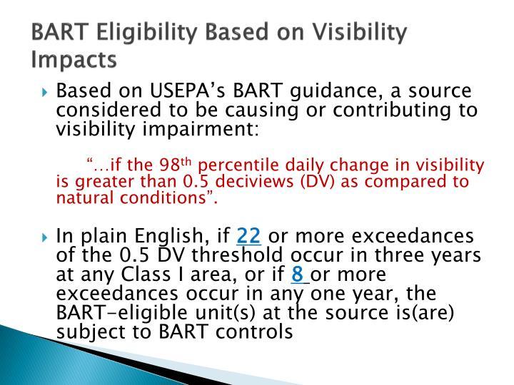 BART Eligibility Based on Visibility Impacts
