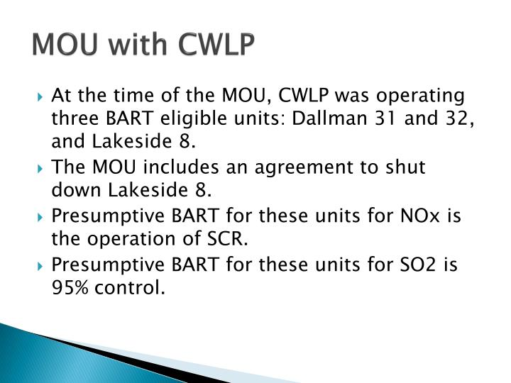 MOU with CWLP
