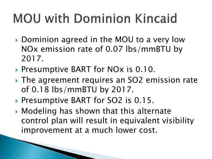 MOU with Dominion Kincaid
