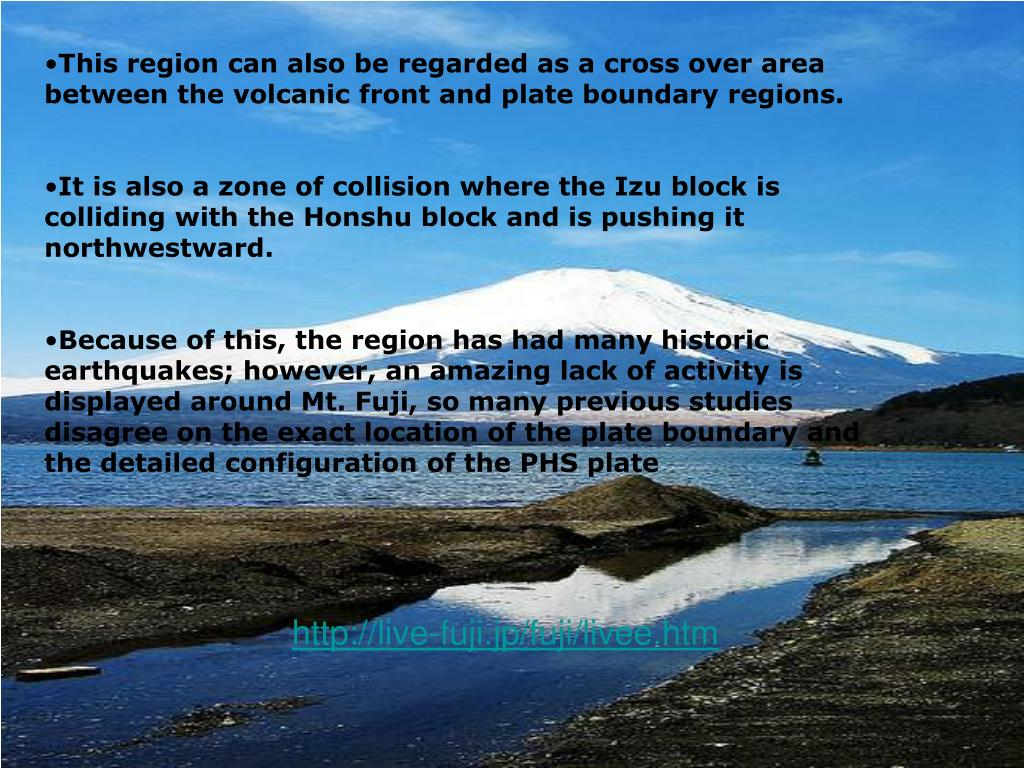 This region can also be regarded as a cross over area between the volcanic front and plate boundary regions.