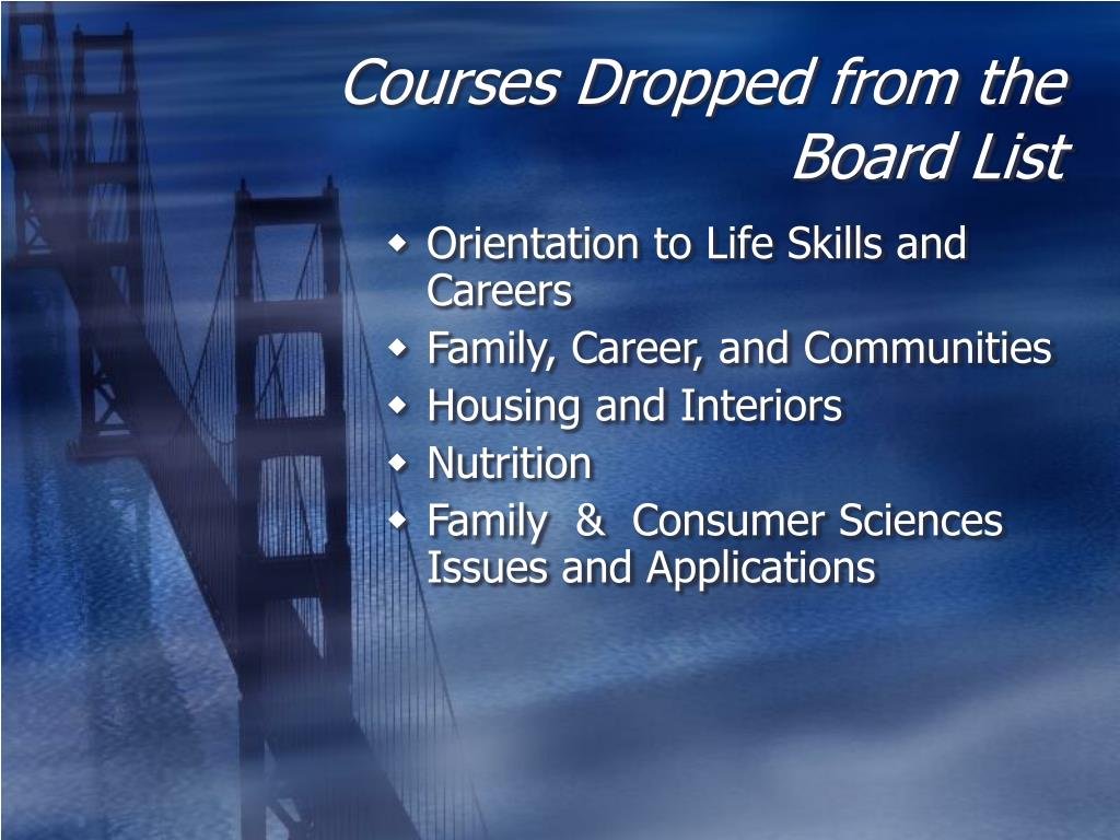 Courses Dropped from the Board List