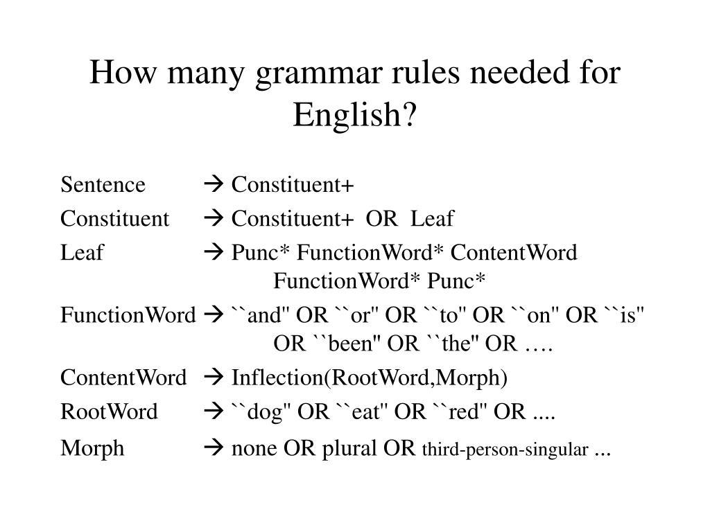 How many grammar rules needed for English?