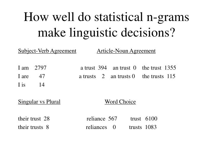 How well do statistical n grams make linguistic decisions