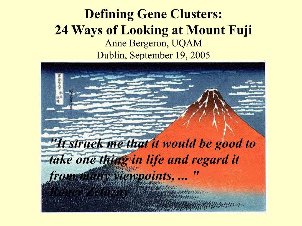 Defining Gene Clusters: